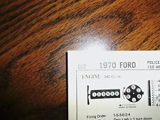 1970 Ford SIX Series Police & Taxi Models 240 CI L6 Tune Up Chart