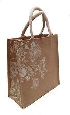 Eco-friendly Jute shopper bag - White sparkly flowers