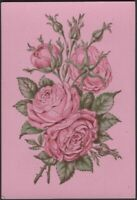Playing Cards Single Card Old Antique Wide Square Corner PINK ROSE FLOWERS Roses