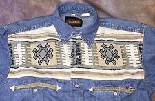 DE3 Steer West Vtg Western snap Shirt Rockabilly Rodeo Cowboy tribal Navajo sz S