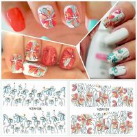 Nail Art Water Decals Stickers Wraps Pretty Spring Daisies Flowers Gel Polish