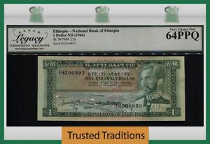 TT PK 25a ND (1966) ETHIOPIA NATIONAL BANK 1 DOLLAR LCG 64 PPQ VERY CHOICE NEW!