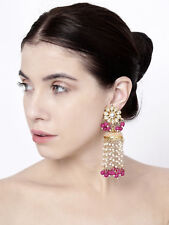 Indian Fashion Pink Pearl Kundan Earring Set Bollywood Diwali Women Jewelry Box