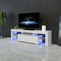 63'' TV Stand Unit High Gloss Cabinet 2 Drawers Console Table w/Blue LED RC US