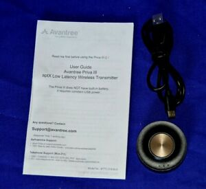 Avantree Priva Three 3 Dual Wireless Transmitter - Unboxed with USB Cable.