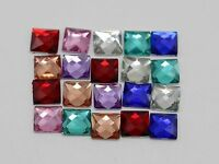 500 Mixed Color Acrylic Flatback Faceted Square Rhinestone Gems 6X6mm No Hole