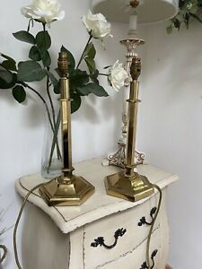 Pair Vintage Traditional Polished Brass Column Table Lamps