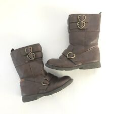 Carters Everton Boots Toddler Girls 9 Brown Heart Buckles Zip Up Easy On