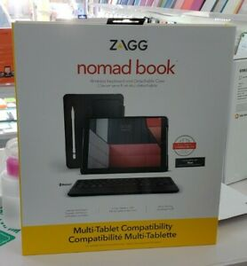 "Zagg Nomad Book Wireless Keyboard And Detachable Case ""Brand New"" 10.2"" & 9.7"""