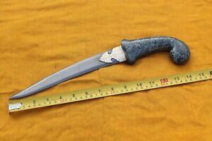Mughal Islamic green( tiger) jade stone Gold & silver inlay dagger wootz blade