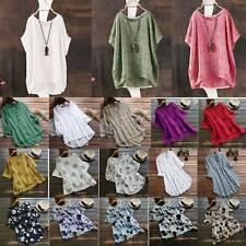 Plus Size Womens Loose Linen Cotton Blouse Tunic Tops Ladies Summer T-Shirt Tee