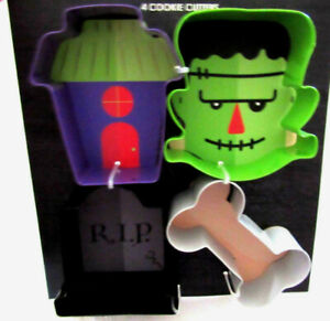 "Halloween 4 pk Cookie Cutters Graveyard Grave Bone House Monster 3"" x 3"" x 1"""