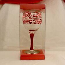 Flair Valentine's Day Wine Glass Hugs & Kisses Xoxo Lips Hearts Nib 14.6 oz