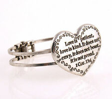 "20cm.Vintage Silver Look "" Love Is... "" Alloy Charm Bangle Bracelet / U.S Seller"