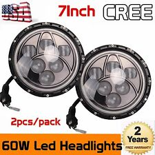 "2x 7""inch 60W CREE LED Headlight Hi/Lo Beam DRL for 97-17 Jeep Wrangler JK TJ"