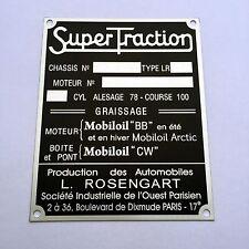 Plaque constructeur SUPERTRACTION - SUPERTRACTION vin plate
