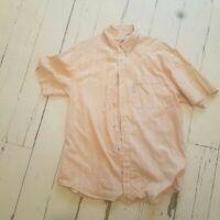 Columbia Men's shirt size M button down short sleeves orange plaid