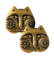 Laurel Burch Flowering Felines Cat Face Post Earrings Gold Tone NEW Retired