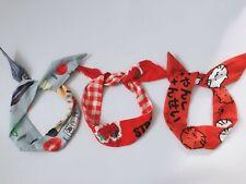 Women Girls Strawberry Wire Kitty Ear adjustable bow scarf Hair head band Wrap