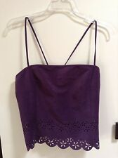 NWT Tahari Three Amethyst Purple strappy tank top shirt laser cut design sexy! 4