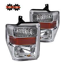 08-10 Ford F250 F350 Super Duty Chrome Housing Headlights w/Amber Reflector SDV1