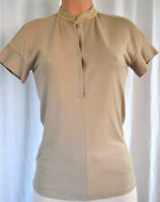 BRUNELLO CUCINELLI MOSS PRIEST NECK WITH GOLD MINI GOLD CHAIN BLOUSE SIZE L