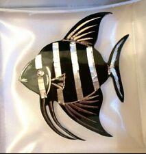 STERLING SILVER AMITA JAPAN ZEBRA FISH BROOCH PIN JEWELLERY 925 ENAMEL ANGEL