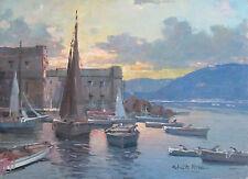 """Fontana04 - """"Tramonto sul mare"""".Olio su tavola  del pittore Fortunato Fontana"""