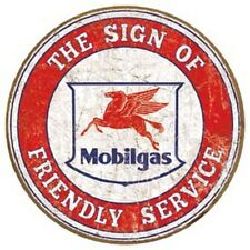 Mobil Service Gasoline Round Tin Metal Sign Bar Garage Gas and Oil Ad