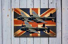 """Lancaster Bomber"""" Aeroplane, Raf, British,Enamel,Vintage Style Metal Sign. 16"""