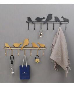 Hakenleiste Wandgarderobe Metall Kleiderhaken Garderobenleiste Vogel 7 Haken DHL