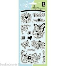 FANCY THAT Clear Stamps 98841 Inkadinkado 13 pcs hearts butterflies flowers
