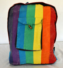 Multicolor rainbow vertical patchwork hippie backpack