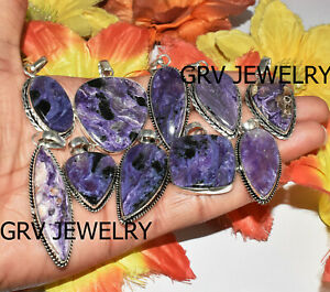 100pcs Natural Charoite Gemstone Pendants Wholesale Lot 925 Silver Overlay wh-43