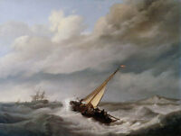ZWPT700 huge sea wave &small sail boat hand painted art oil painting on canvas