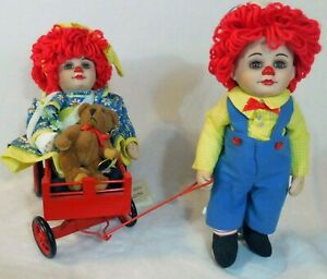 Rags & Injured Rosie Pulled in Red Wagon Bear Marie Osmond Miracle Children Doll