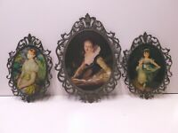 Vintage Victorian Brass Metal Oval Ornate Picture Frame Made In Italy...Set of 3