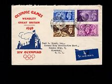 Great Britain FDC July 29 1948 Olympics Set Glasgow First Day Cover to Kansas 7m