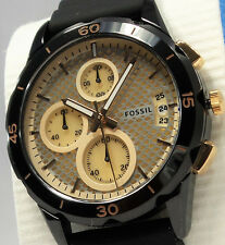Fossil ES3984 Modern Pursuit Chronograph Watch Ladies Black Silicone Strap $155