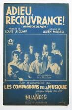 Partition sheet music LES COMPAGNONS DE LA CHANSON : Adieu Recouvrance * 50's