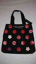 NWT - Marc Jacobs Fragrances Canvas Tote Bag Black with Red Polka Dots Daisies