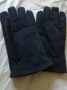 Gents black leather gloves (suede effect) Size large - fur lined