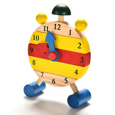 1Pc Baby Kids Clock Blocks Early Learning Building Educational Wood Toy Gift New