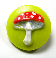 """Vintage Glass Buttons Cute Mushroom Design with Paint  Accents - 1/2"""""""