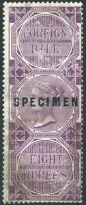 India 8R Foreign Bill Opt SPECIMEN BF17 (No Gum probably been on a Document)