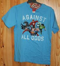 BOYS JUSTICE LEAGUE AGAINST ALL ODDS BLUE T SHIRT SIZE 12 - NEW WITH TAGS