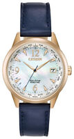 Citizen Eco-Drive Ladies FC8003-06D A-T World Time Blue Leather Strap 36mm Watch