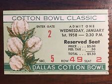1958 Navy Midshipmen vs Rice Owls Cotton Bowl Football Ticket Stub EX/NEAR MINT