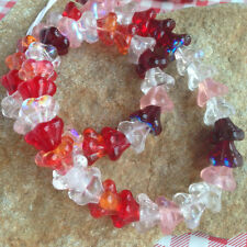 Strawberry Garden Big Trumpet Flower Beads Czech Glass Red Pink Crystal ab Sun