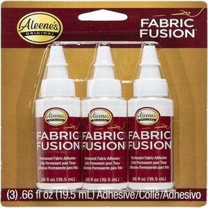 Aleenes Fabric Fusion Glue Permanent Clear Cloth Adhesive Bond 3 Bottles